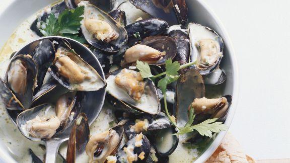Rezept: Miesmuscheln mit Weißwein und Petersilie