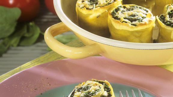 Rezept: Mit Spinat gefüllte Nudelröllchen