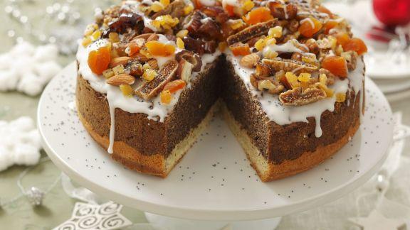 Rezept: Mohnkuchen mit Trockenfrüchten