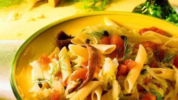 Rezept: Nudeln mit Gemüse und Sardellen