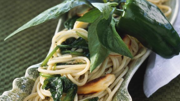 Rezept: Nudeln mit Spinat