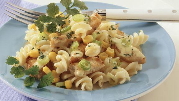 Rezept: Nudelsalat mit Putenfleisch