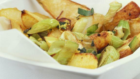 Rezept: Ofenkartoffeln mit Porree und Birnen