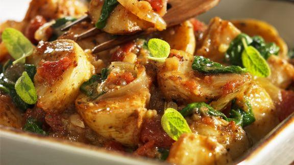 Rezept: Ofenkartoffeln mit Spinat