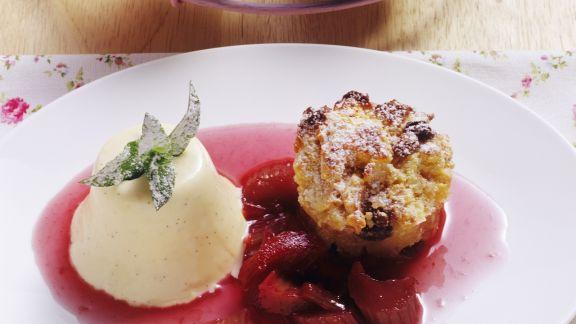 Rezept: Ofenschlupfer mit Rhabarberkompott und Vanilleeis