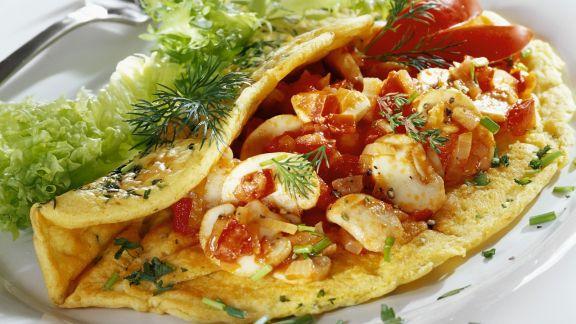 Rezept: Omelett mit Champignons und Tomaten