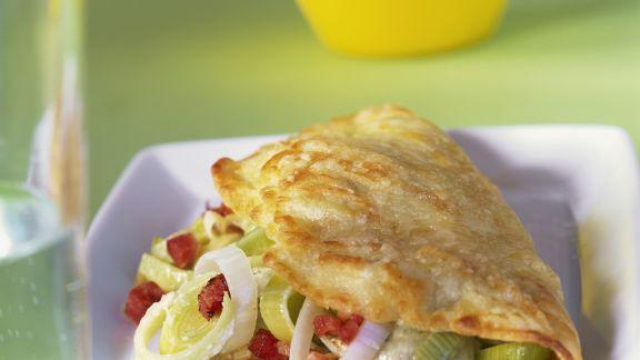 Rezept: Omelett mit Porree und Speck
