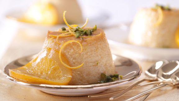 Rezept: Orangen-Flan mit Pistazien