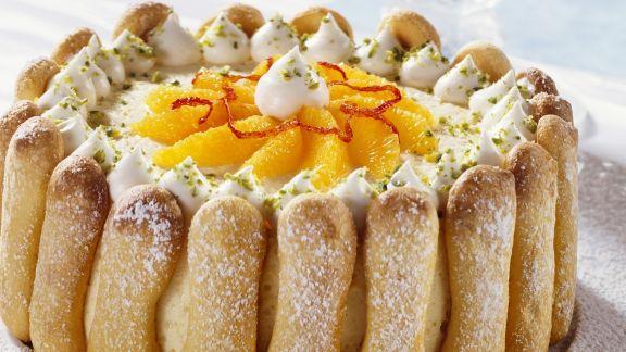 Rezept: Orangentorte mit Löffelbiskuit