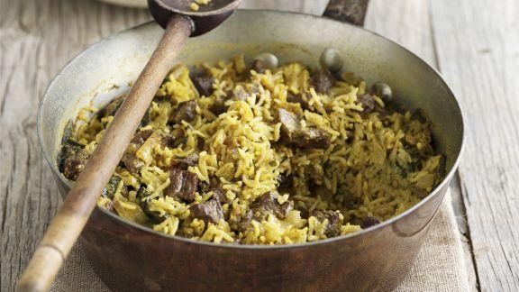 Rezept: Orientalische Reispfanne (Pilaf) mit Lammfleisch