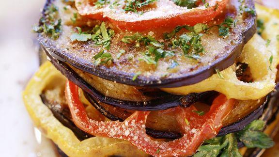 Rezept: Paprika-Auberginen-Gratin