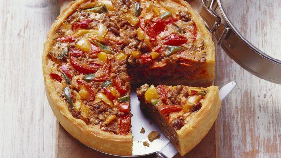 Rezept: Paprika-Hackfleisch-Quiche