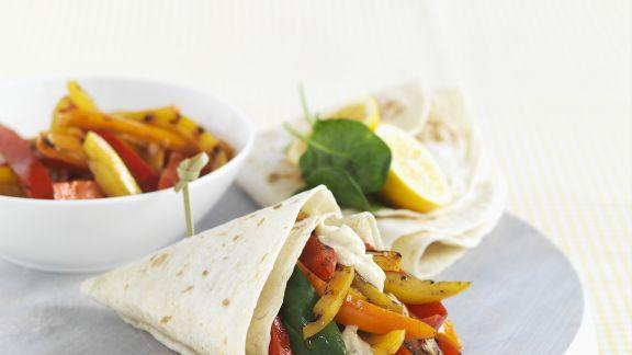 Rezept: Paprika-Wraps mit Hühnchen