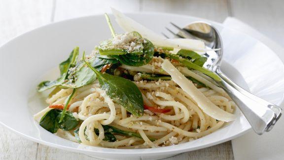 Rezept: Pasta mit frischem Spinat