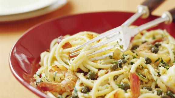 Rezept: Pasta mit Garnelen und Kapern