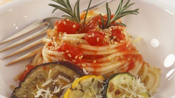 Rezept: Pasta mit gegrilltem Gemüse