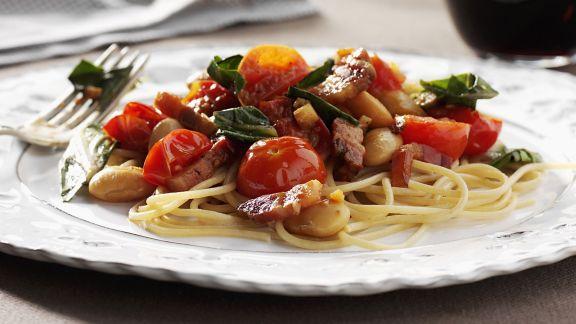 Rezept: Pasta mit Gemüse und Pancetta