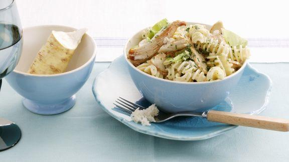 Rezept: Pasta mit Hähnchen, Porree und Meerrettich
