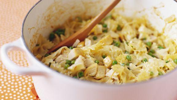 Rezept: Pasta mit Hähnchen und Erbsen