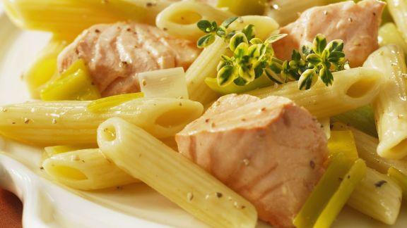 Rezept: Pasta mit Lachs-Lauch-Soße