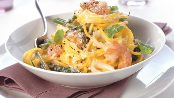 Rezept: Pasta mit Meeresfrüchten und Parmesan