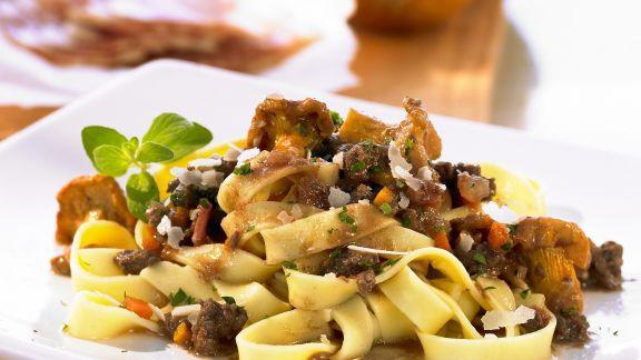 Rezept: Pasta mit Pfifferlingen und Hackfleisch