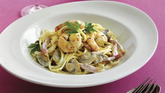 Rezept: Pasta mit Pilzen und Shrimps