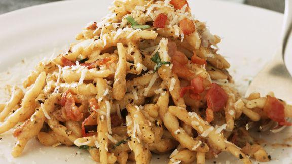 Rezept: Pasta mit Pilzen und Speck