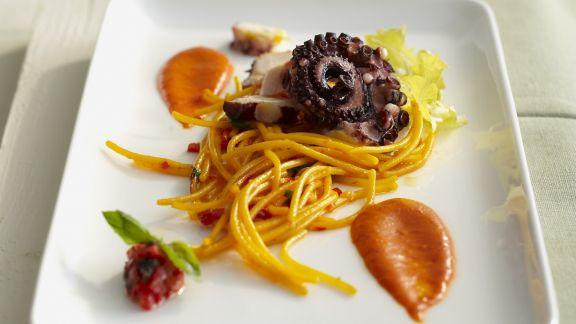 Rezept: Pasta mit Safran und Oktopus