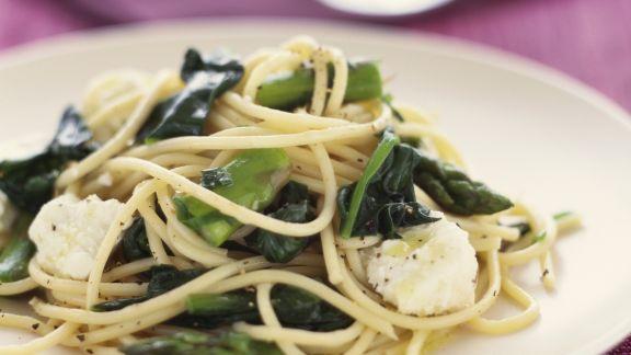 Rezept: Pasta mit Spinat und Ziegenkäse