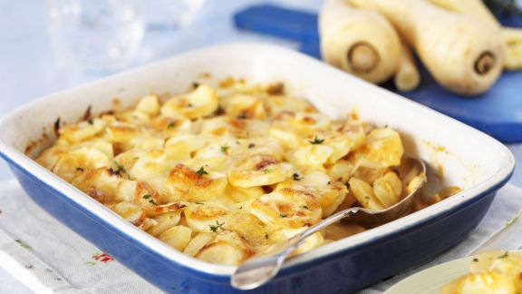 Rezept: Pastinaken-Kartoffel-Gratin