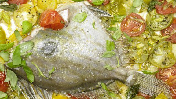 Rezept: Petersfisch auf Tomatenbett