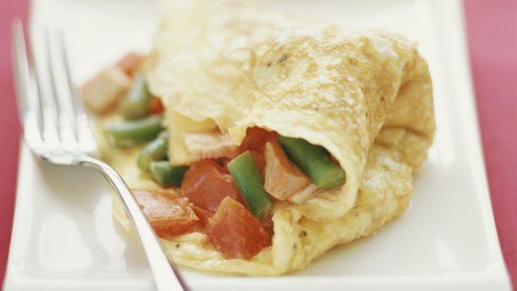 Rezept: Pfannkuchen mit Schinken-Tomaten-Füllung