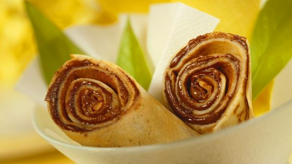 Rezept: Pfannkuchen mit Schokocreme gefüllt