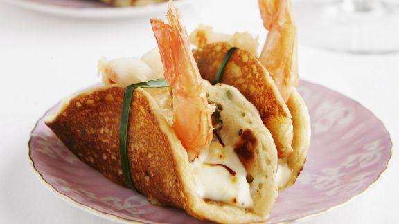 Rezept: Pfannkuchen mit Shrimps und Safran-Mayonnaise
