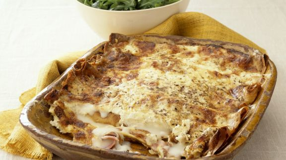 Rezept: Pfannkuchengratin mit Schinken und Käse