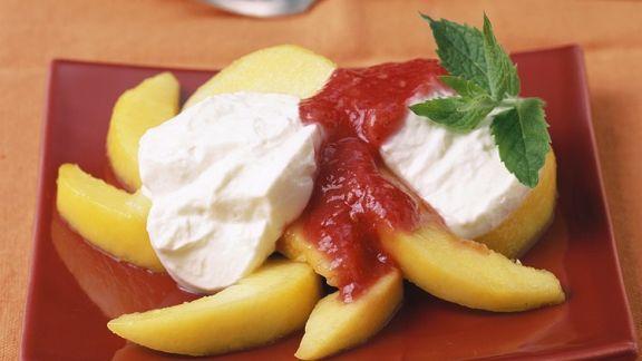 Rezept: Pfirsich mit Quarkcreme