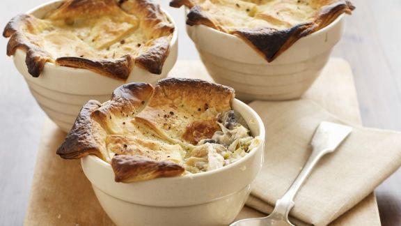 Rezept: Pie mit Lauch, Hähnchen und Champignons