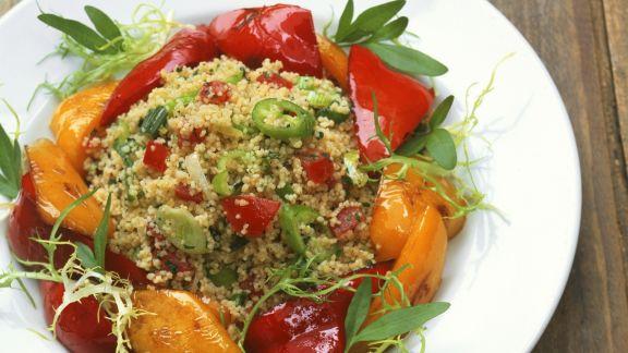 Rezept: Couscous mit Peperoni und marinierten Paprika