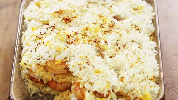 Rezept: Pikantes Reisgratin auf indische Art