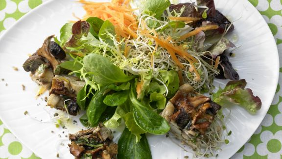 Rezept: Pilz-Gratin auf Sprossensalat