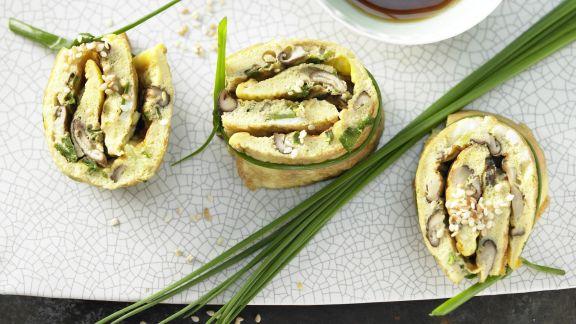 Rezept: Pilz-Omelett-Röllchen
