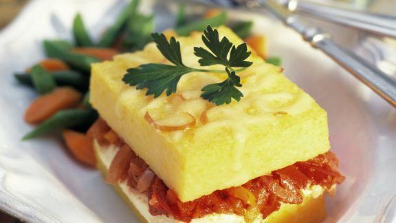 Rezept: Polenta-Sandwich mit Gemüse und Ricotta