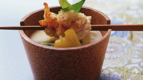 Rezept: Polentasuppe mit Languste in Mandelteig frittiert (Tempura)