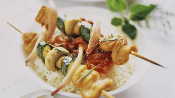 Rezept: Puten-Gemüse-Spieße