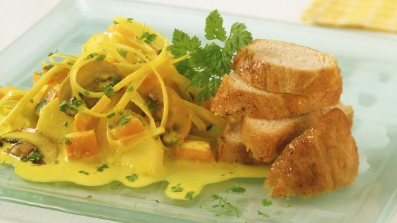 Rezept: Putenbrust mit Curry-Gemüse