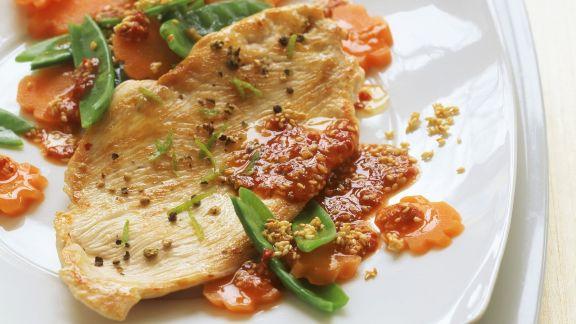 Rezept: Putenbrust mit Gemüse und Chilidip