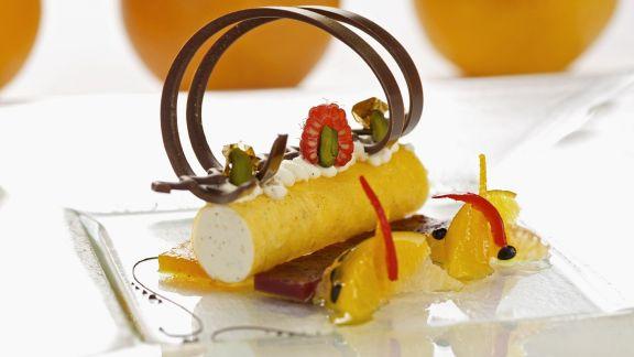 Rezept: Quarkcreme mit Safran-Cannelloni und Zitrusfrüchtesalat
