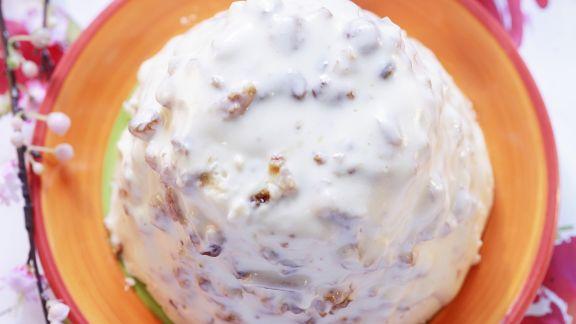 Rezept: Quarkcreme nach russischer Art mit Rosinen und Mandeln