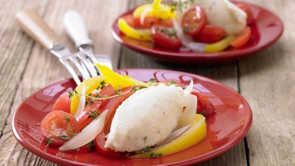 Rezept: Quarkklöße auf Paprikagemüse